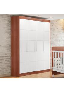 Guarda-Roupa De Bebe 4 Portas 3 Gavetas Choco Plus Car Avelã/Brc - Multimóveis
