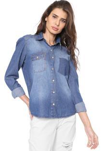 Camisa Lunender Estonada Azul