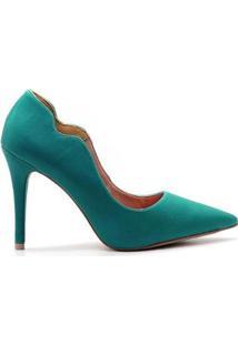 Scarpin Royalz Curvas Liso Salto Alto Fino - Feminino-Verde