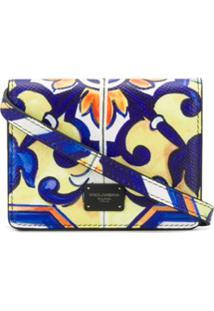 Dolce & Gabbana Bolsa Maiolica Mini Com Estampa E Patch De Logo - Azul