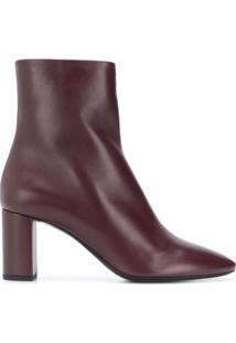 Saint Laurent Ankle Boot 'Joplin' De Couro - Vermelho