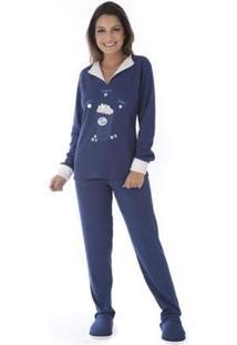 Pijama Inverno Charme Victory Feminino - Feminino-Azul Escuro