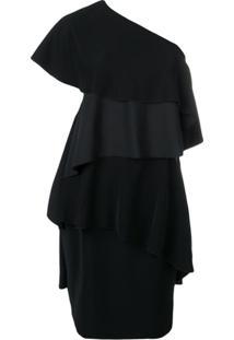 Lanvin Vestido Ombro Único Com Babados - Preto