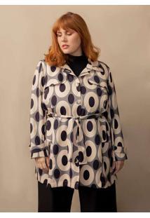 Trench Coat Modernista Plus Size Bege-Exg Cinza