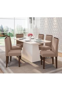 Conjunto De Mesa De Jantar Com Tampo De Vidro Bárbara E 6 Cadeiras Amanda Veludo Off White E Bege