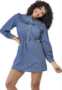 Vestido Azul Babados