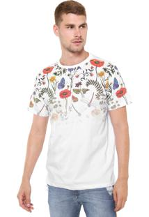 Camiseta Fiveblu Manga Curta Floral Branca