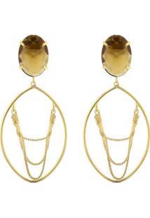 Brinco Euro Pedras Dourado - Eus6999D/4D