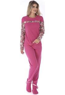 Conjunto Pijama Victory Inverno Fofucho Feminino - Feminino-Rosa