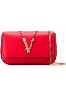 Versace Bolsa Transversal Virtus - Vermelho