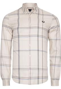 Camisa Masculina Enlarged Check - Bege