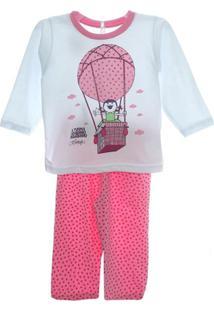 Pijama Longo Balão - Feminino-Branco