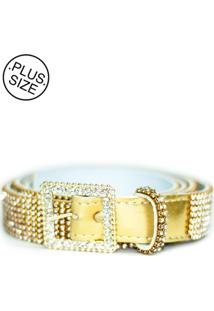 Cinto Feminino Plus Size - Confidencial Extra De Strass - Dourado