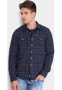 Camisa Gangster Xadrez Flanela Bolsos Masculina - Masculino