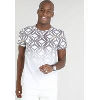 Camiseta Masculina Slim Fit Estampada Geométrica Degradê Manga Curta Gola  Careca Branca c7eca38d4c58c