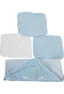 Jogo De Toalhas De Boca Hipopótamo - Azul Claro & Brancobicho Molhado