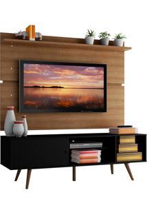 Rack Madesa Cairo E Painel Para Tv Até 65 Polegadas Com Pés De Madeira - Rustic/Preto Preto