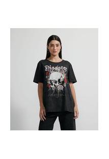 Blusa T-Shirt Em Algodão Manga Curta Com Estampa Caveira Flor   Blue Steel   Preto   Pp
