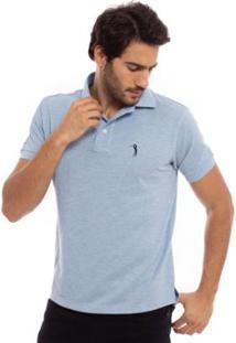 Camisa Polo Aleatory Lisa Mescla Masculina - Masculino-Azul Claro