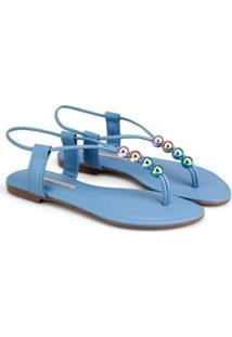 Rasteira Sapatinho De Luxo Napa Naturale Enfeite Multicolor Feminina - Feminino-Azul