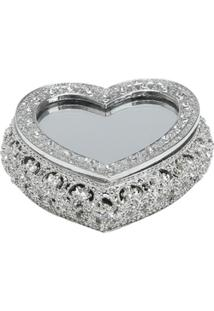 Porta Jóias De Zamac Com Tampa Espelhada Precious Heart Em Forma De Coração 10X9X3,3Cm - Unissex