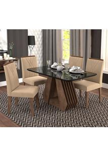 Conjunto De 4 Cadeiras Para Sala De Jantar 130X80 Agata/Nicole-Cimol - Marrocos / Preto / Caramelo