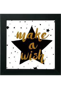 Quadro Make A Wish 30X30 C/Vidro-Kapos - Preto
