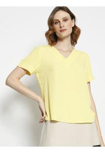 Blusa Com Recortes- Amarelo Claro- Milioremiliore