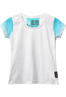 Camiseta Baby Look Feminina Algodão Estampa Estilo Leve Moda Azul Claro/Branco G Azul - Kanui
