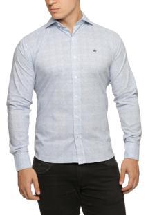 Camisa Alfaiataria Burguesia Quadriculada Azul/Branco