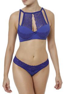 Conjunto De Lingerie Thays E Thamires Azul