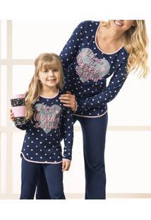 Pijama Longo Poá Feminino Malwee (1000037330) Algodão