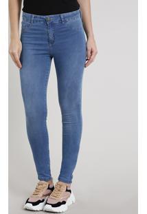 82dcfef57 Calça Cintura Alta Elastano feminina. Calça Jeans Feminina Super Skinny  Energy Jeans Azul Médio