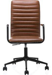 Cadeira Em Poliuretano Com Braço Winslow Cognac