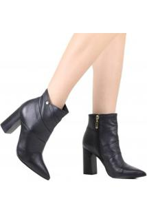 Bota Jorge Bischoff Ankle Boot Salto Grosso Couro