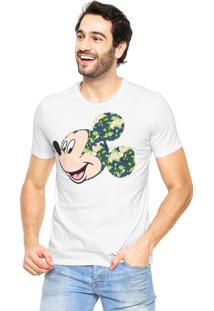 Camiseta Cativa Mickey Camuflado Branca