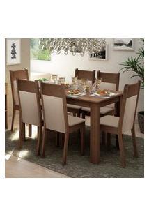 Conjunto Sala De Jantar Madesa Jaíne Mesa Tampo De Madeira Com 6 Cadeiras Marrom