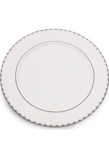 Conjunto 6 Pratos Rasos De Porcelana Bone China Blue Silver Alto Relevo 27Cm