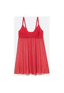 Camisola Curta Em Tule Com Decote V E Renda Vermelho