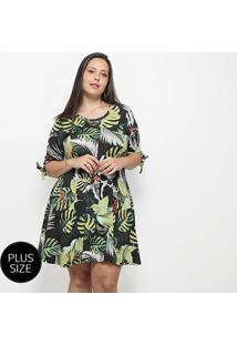 Vestido Blomma Estampado Plus Size - Feminino-Verde