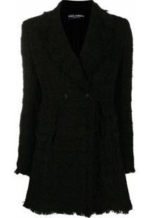 Dolce & Gabbana Blazer De Tweed Com Abotoamento Duplo - Preto