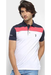 Camisa Polo Aleatory Listrada Masculina - Masculino-Marinho+Branco