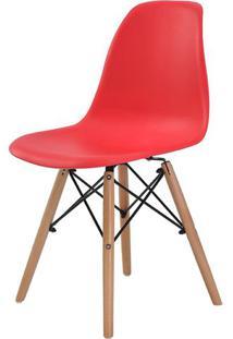 Cadeira Eames Eiffel Polipropileno Vermelha Base Madeira - 44163 - Sun House
