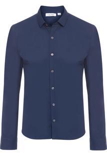 Camisa Masculina Slim Básica - Azul Marinho