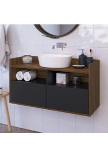 Gabinete Para Banheiro 2 Portas E Nichos Borges Estilare Móveis Preto/Madeirado
