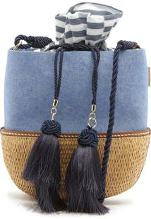 Vallie Bucket Bag Rafia Jeans | Schutz