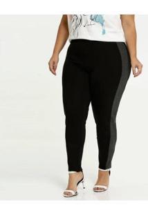 Calça Legging Recorte Plus Size Marisa Feminina - Feminino-Preto