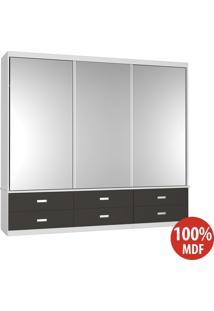 Guarda Roupa 3 Portas Com 3 Espelhos 100% Mdf 1341E3 Branco/Café - Foscarini