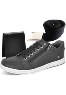 Kit Tênis Ousy Shoes Carteira Cinto Preto
