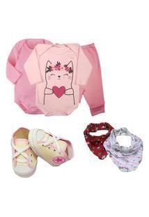 Presente De Bebê 6Pçs Enxoval Menino Menina Maternidade Rosa